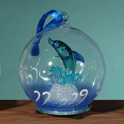 Light Up Glass Dolphin Jumping Ornament