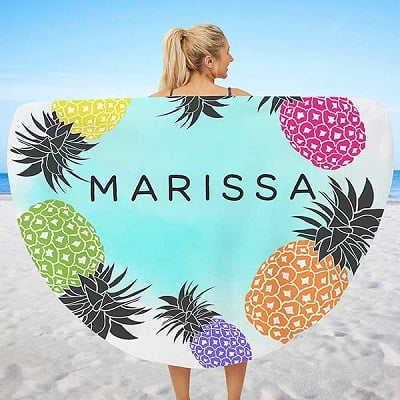 Pineapple Party Personalized Round Beach Towel