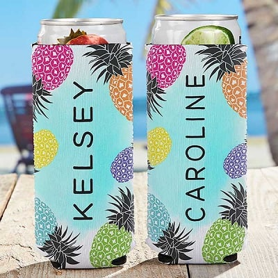 Pineapple Party Personalized Slim Can Cooler