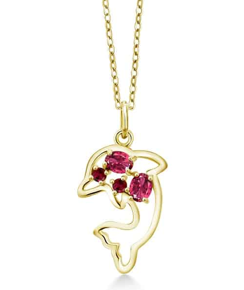 Pink Tourmaline and Red Ruby 18K Yellow Gold Plated Dolphin Pendant Necklace
