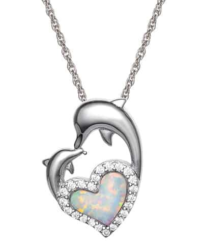 Sterling Silver Cubic Zirconia and Created Opal Dolphin Pendant