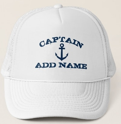 Boat Captain Hat with Anchor and Name