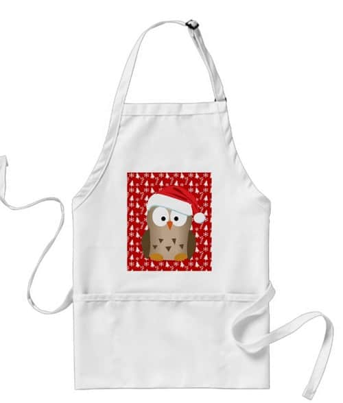 Christmas Owl with Santa Hat Adult Apron