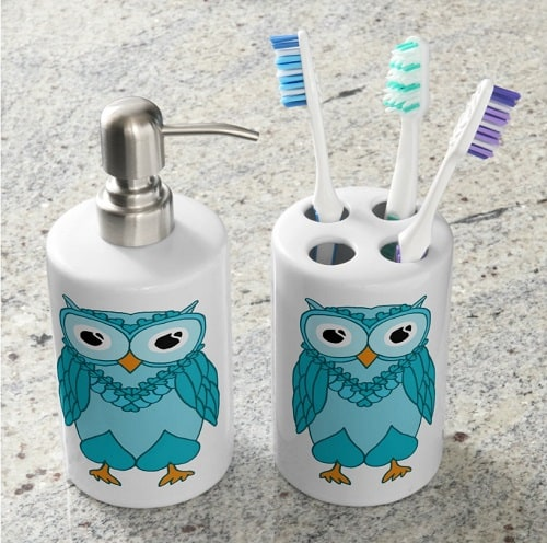 Owl Soap Dispenser and Toothbrush Holder