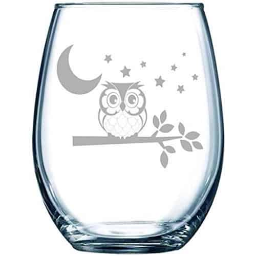 Owl Stemless Wine Glass - Gifts for Owl Lovers