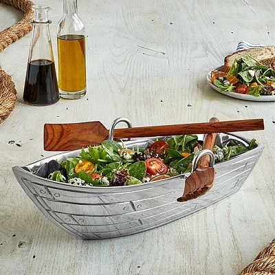 Row Boat Serving Bowl with Wood Serving Utensils - Boating Gifts for Boaters