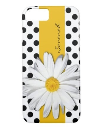 Black and White Polka Dots Daisy Phone Case
