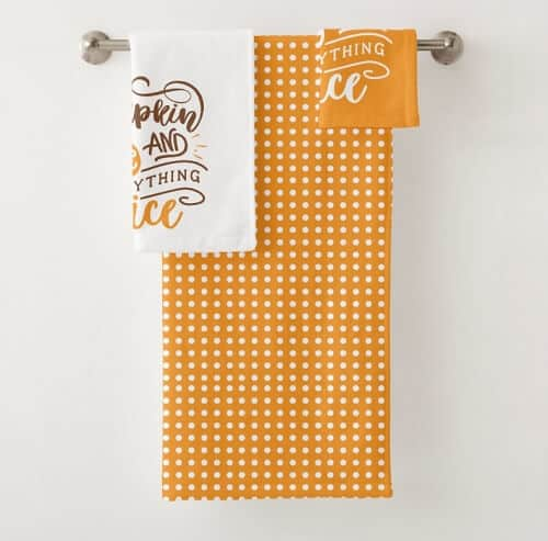 Calligraphy Pumpkin Spice and Everything Nice Bath Towel Set