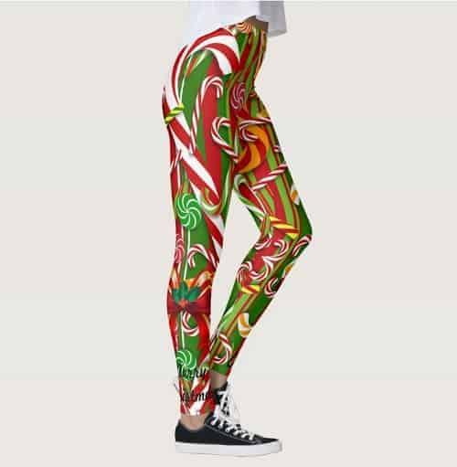 I Like Candy Red-Green Christmas Leggings
