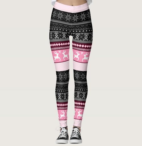 Pink Fair Isle Snowflake Pattern Tights