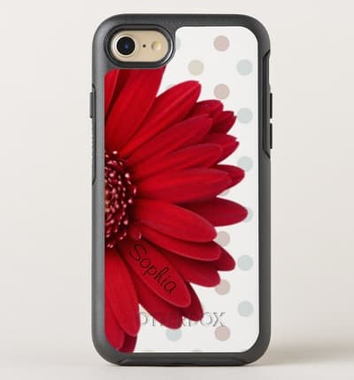 Polka Dot Red Daisy OtterBox