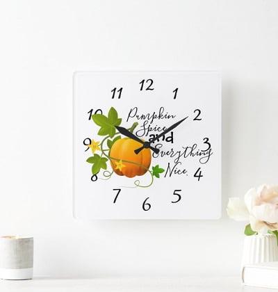 Pumpkin Autumn Wall Clock