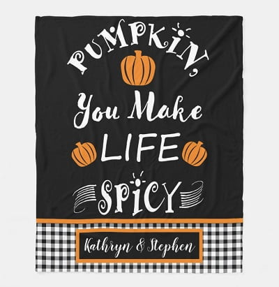 Pumpkin You Make Life Spicy Fall Buffalo Check Blanket