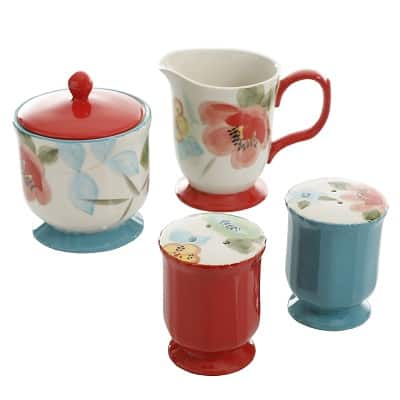 The Pioneer Woman Vintage Bloom 5-Piece Ceramic Sugar and Creamer Set