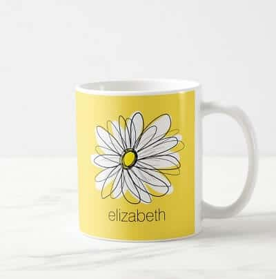 Yellow and White Whimsical Daisy Coffee Mug