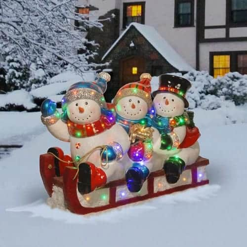 3 Sledding Snowmen Christmas Decoration