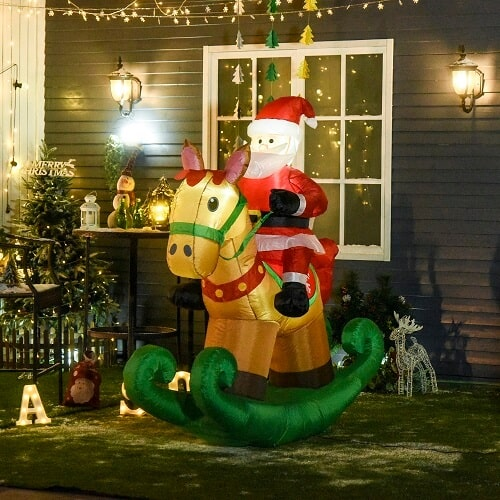 5.8ft Tall Outdoor Indoor Inflatable Santa Claus Christmas Decoration Riding Rocking Horse for Lawn with LED Lights