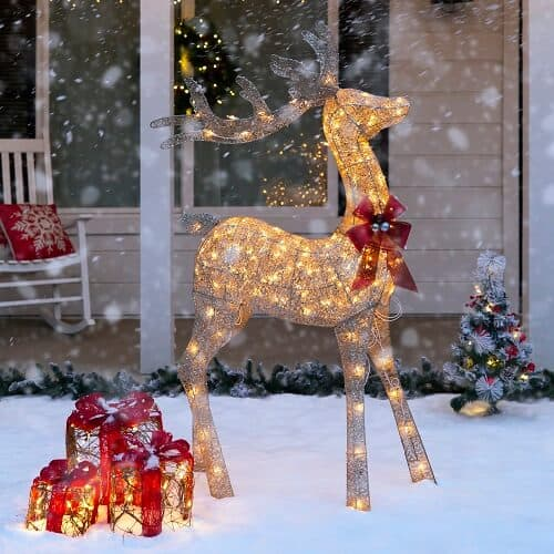 5ft 3D Pre-Lit Gold Glitter Christmas Reindeer Buck Yard Decoration