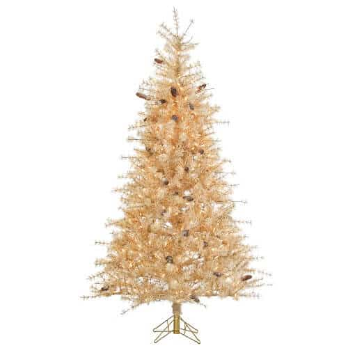 7 Ft. Frosted Buttercream Slim Christmas Tree with Pine Cones and 400 Clear Lights