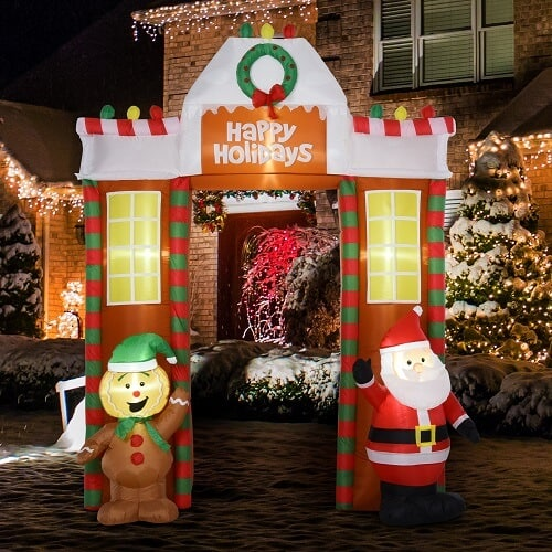 9' Christmas Inflatable Archway Santa & Gingerbread Man with LED Lights