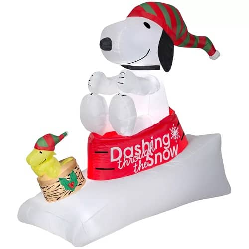 Airblown Snoopy and Woodstock in Sled Christmas Inflatable