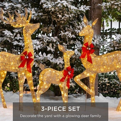 Best Choice Products 3-Piece Lighted Christmas Deer Set Outdoor Yard Decoration with 360 LED Lights, Stakes, Zip Ties