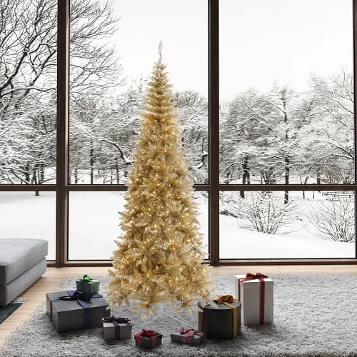 Champagne Gold Tinsel Fir Artificial Christmas Tree
