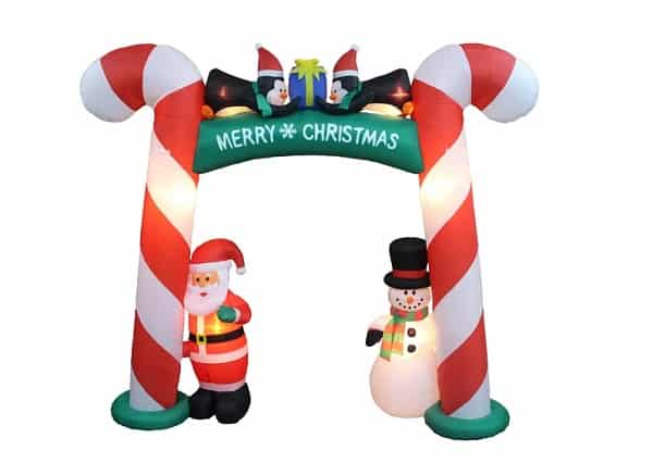 Christmas Candy Cane Arch with Santa, Penguins & Snowman Christmas Inflatable
