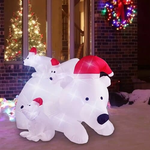 Christmas Polar Bear Momma Inflatable