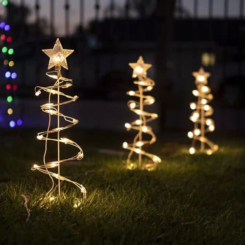 Christmas Spiral Tree Shaped Lighted Display (Set of 3)