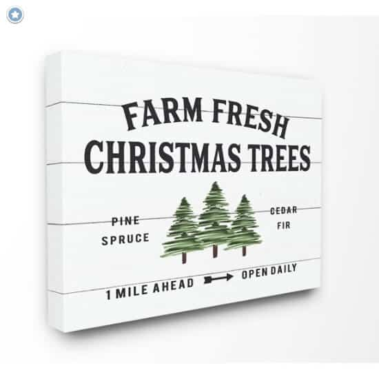 Holiday Farm Fresh Christmas Trees Spruce and Fir Canvas Sign