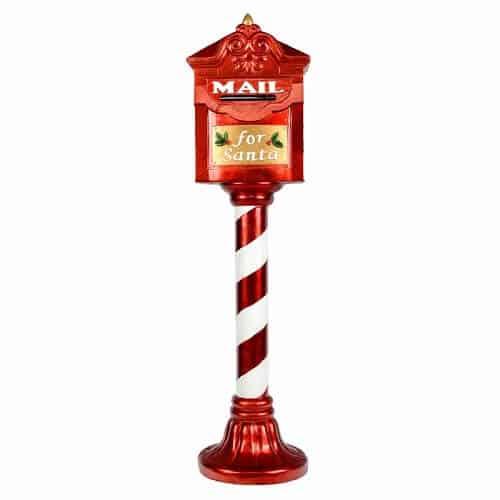 Mailbox and Candy Cane Pole Figurine