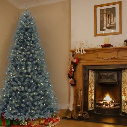 North Valley Blue Spruce Artificial Christmas Tree with Clear White Lights