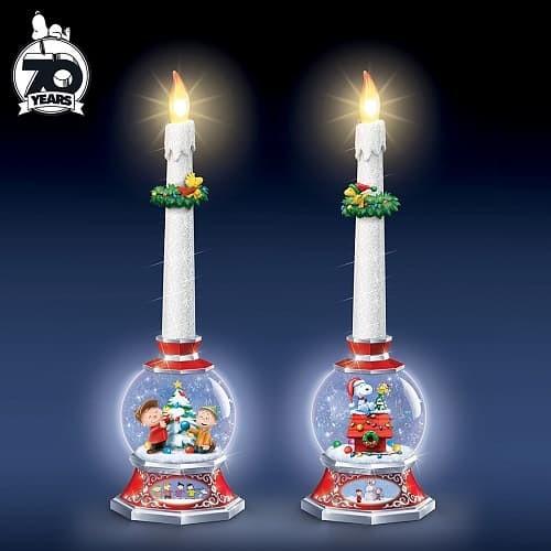PEANUTS Illuminated Glitter Globe Flameless Candle Set