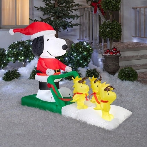 Peanuts Santa Snoopy On Sled With Woodstock Airblown Christmas Inflatable