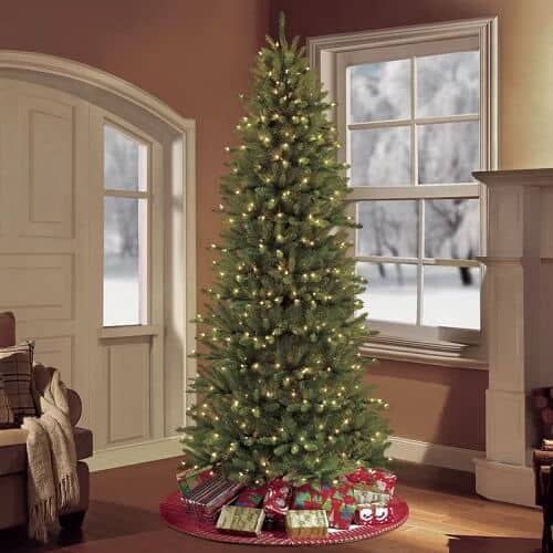 Pre-lit Slim Fraser Green Fir Artificial Christmas Tree with Clear White Lights