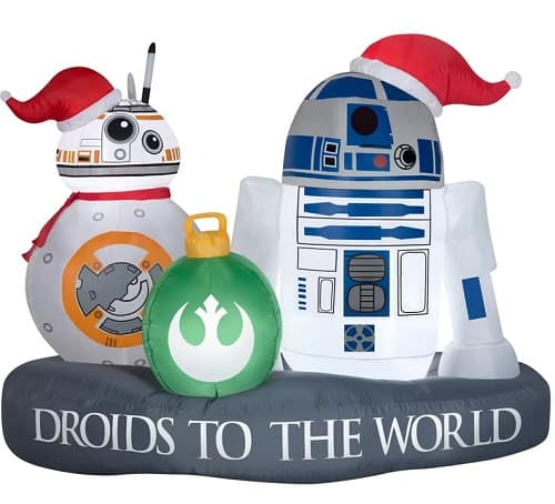 R2-D2 and BB-8 Droid to the World Scene Star Wars Christmas Inflatable