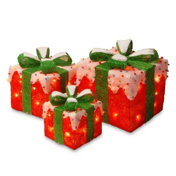 Red Christmas Gift Boxes Table Decor Set