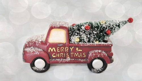 Red Pickup Truck Christmas Decor