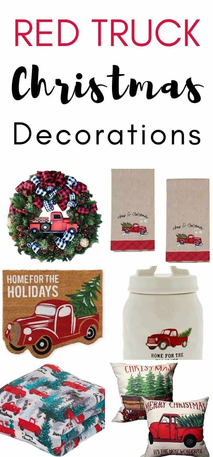 Red Pickup Truck Christmas Decorations