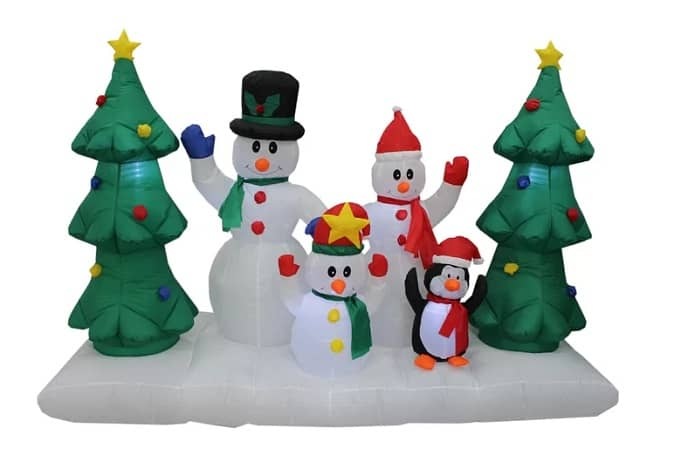 Snowman Family and Christmas Tree Inflatable