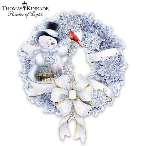 Snowman Wreath With Lights And Snowflakes