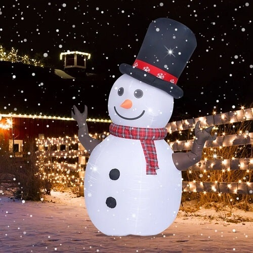 Snowman with Hat and Scarf Inflatable