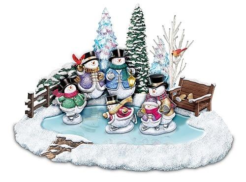 Thomas Kinkade Skating Snowmen Illuminated Musical Christmas Decoration