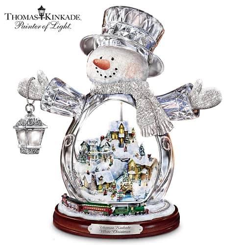Thomas Kinkade White Christmas Masterpiece Edition Crystal Snowman