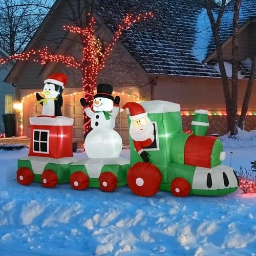 Train with Santa Claus, Penguin and Snowman Christmas Inflatable