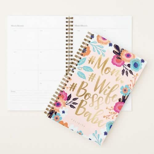 Mom, Wife, Boss Babe Personalized Planner