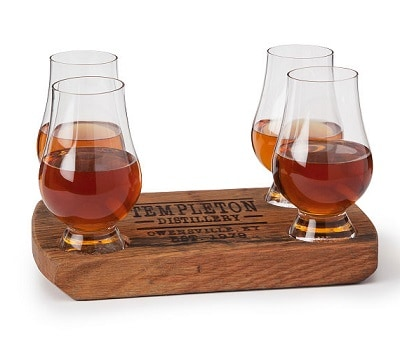 Personalized Bourbon Barrel Flight with Glasses - Personalized Bourbon Gifts for Men
