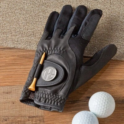 Personalized Leather Golf Glove with Magnetic Ball Marker