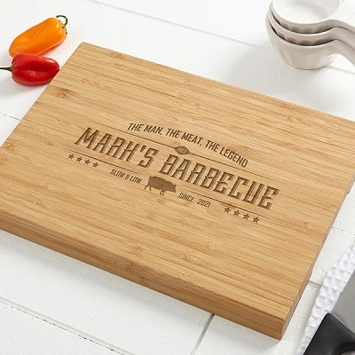 The Man,The Meat,The Legend Personalized Bamboo Cutting Board